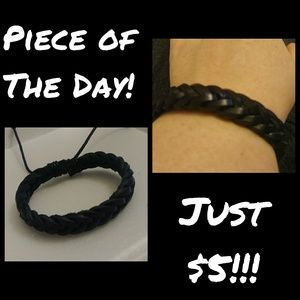 Piece of the Day! Black Braided Leather Bracelet
